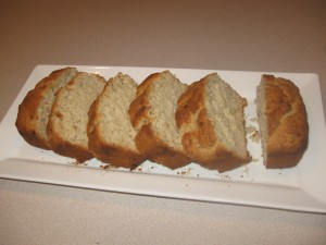 Sliced loaf of banana bread