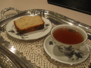 Banana bread served with tea