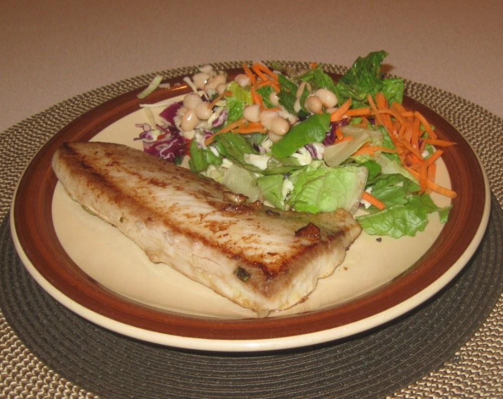 Ahi tuna steak marinaded with sesame oil, and ginger