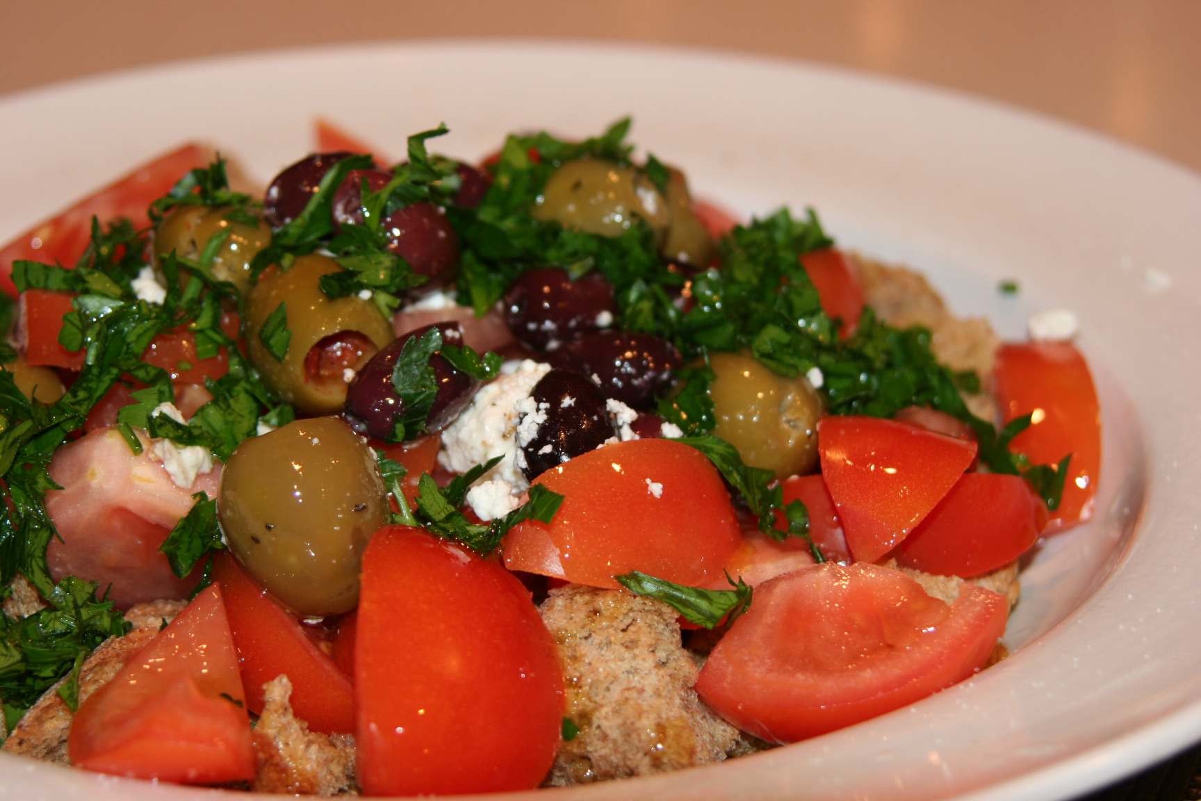 ... and irresistible tomato salad with stuffed olives | Mydinnertoday