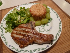 Pork chops with tomato rice