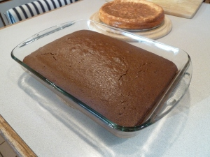 Chocolate cake out of the oven