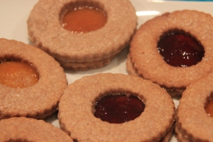 biscuits with apricot and strawberry jam