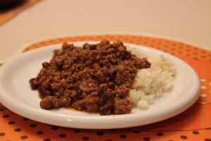 chilly con carne served with rice