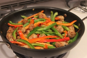 sausages with peppers in the pan
