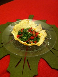 Parsley salad in a bowl of Parmesan