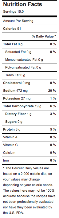 Nutritional information for bread