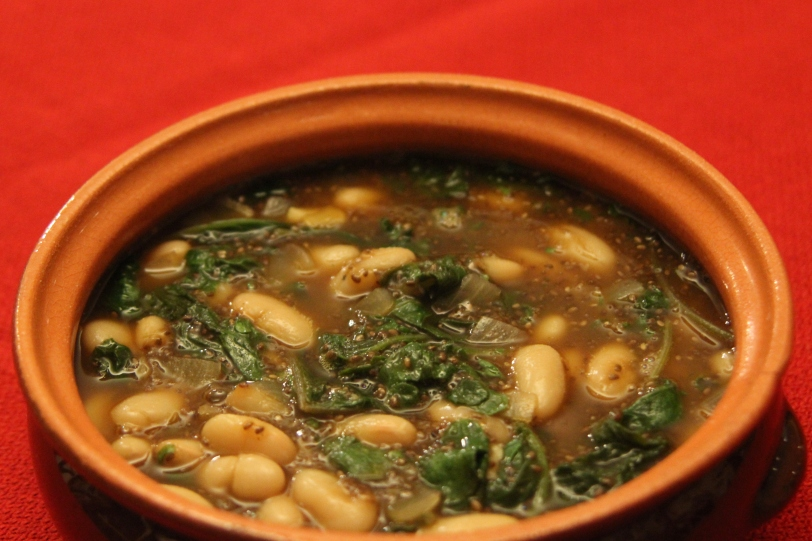 Chia soup with cannellini beans