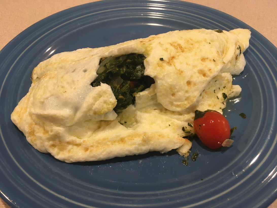 Omelette with egg whites and spinach