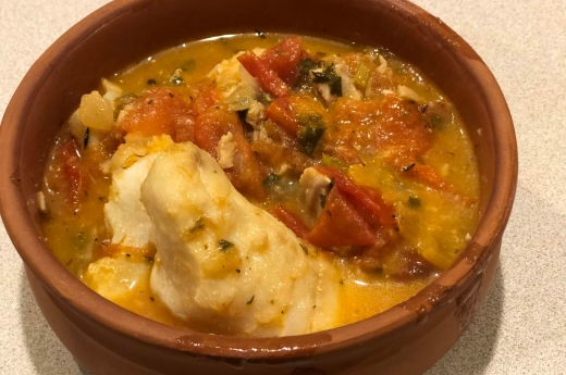 Cod stew with fresh tomatoes