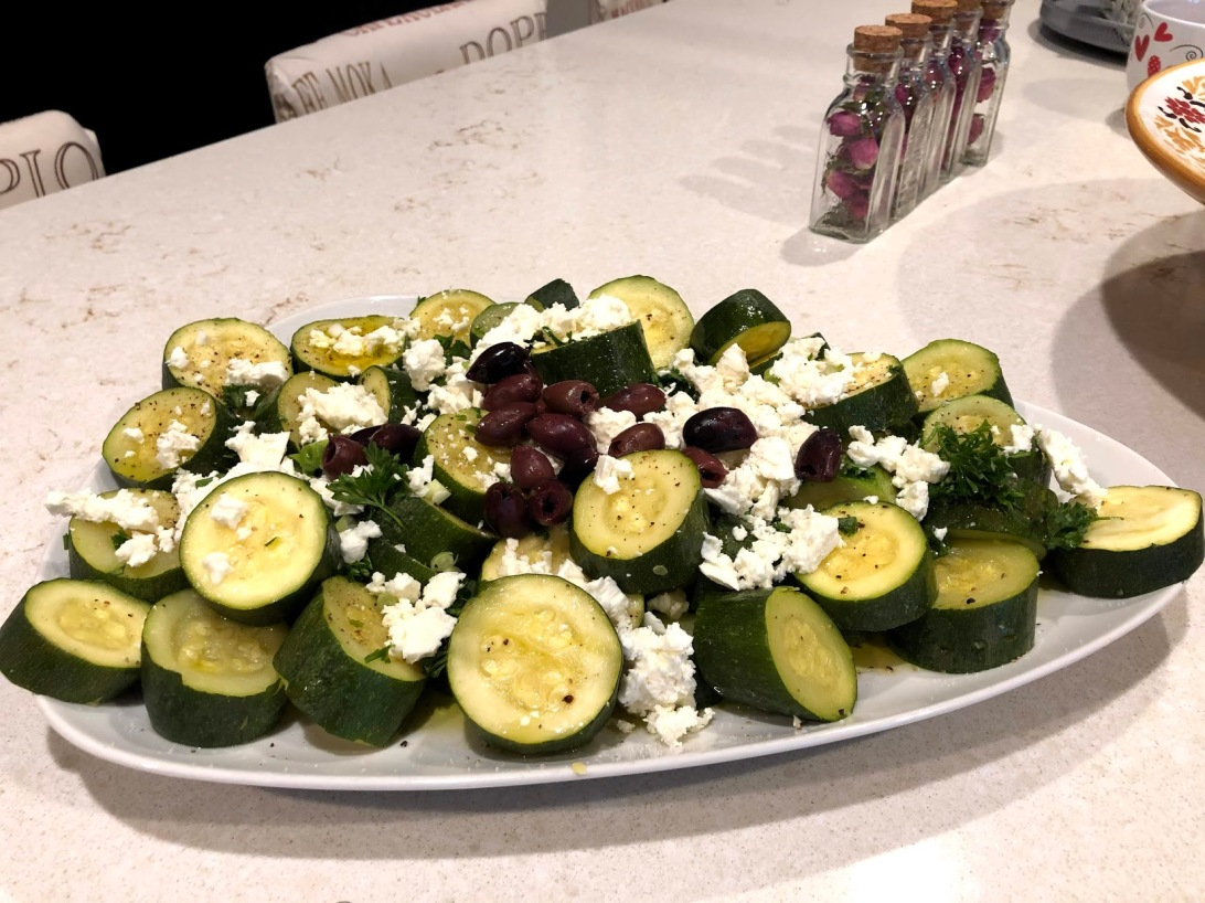 Zucchini with feta cheese