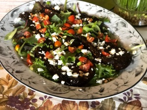 Roasted eggplants with harissa sauce